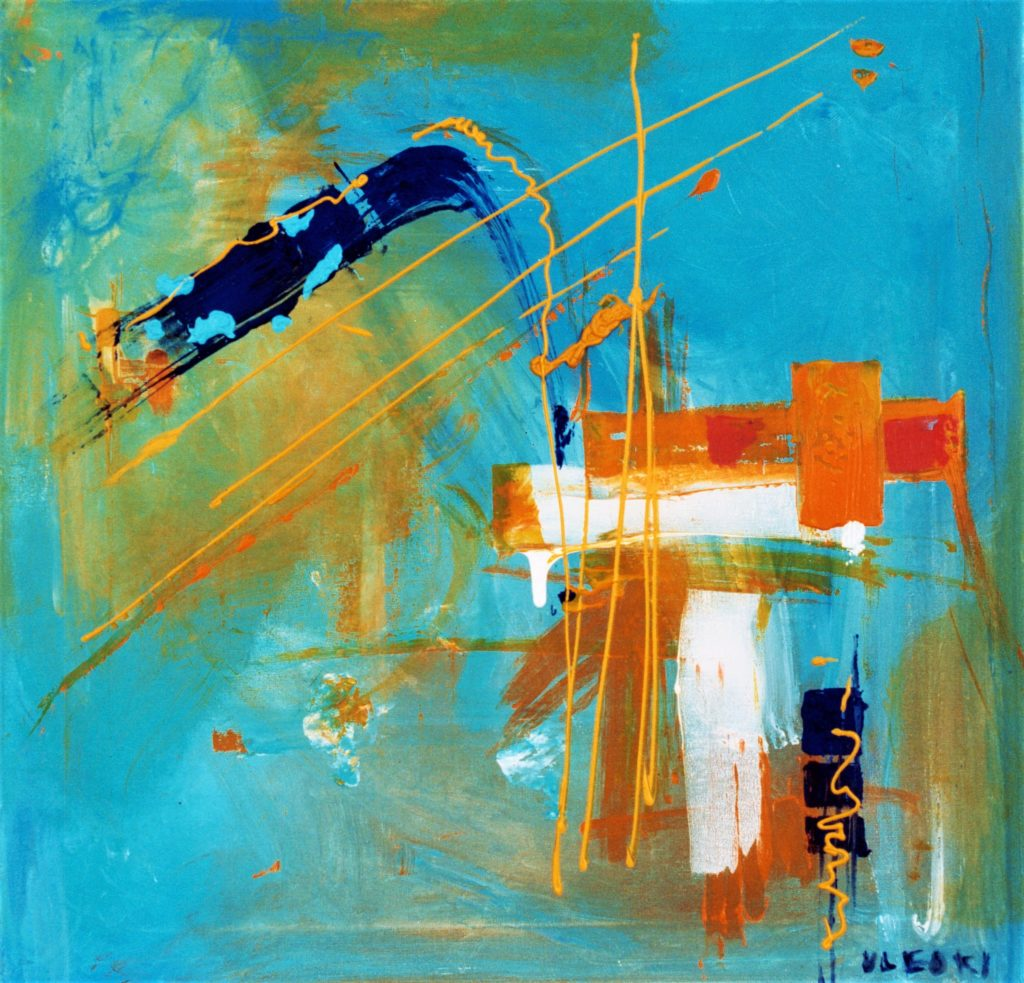 Composition Bleue Peinture Contemporaine Dans Tous Ses